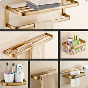 Antique Brass Wall Mount Bathroom Accessory Soap Toothbrush Toilet Hardware Set