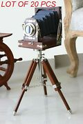 Vintage Look Antique Film Studio Camera Collectibles With Wooden Tripod Stand