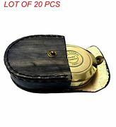 Antique Vintage Brass Handcrafted Pocket Compass Collectible With Leather Case