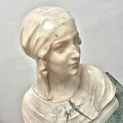 Large Antique Marble Alabaster Bust Of Young Woman Lady Italy19th Sculpture