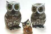 Vintage 3 Horned Owl Sculptures Or Figurines-2 Large Wood And Paint And1 Sm. Ceramic