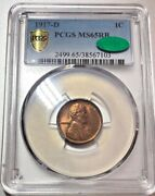 1917 D Lincoln Cent Pcgs Ms65rb Cac