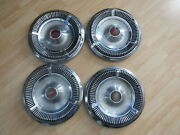 Vintage 1970s Ford Mercury Three Gold Crown 14 Hubcaps Lot Of 4 X3-2102