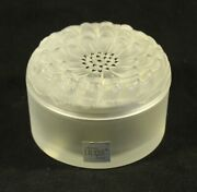 Lalique France Crystal Dahlia Powder Box Flower Glass Frosted Signed Sticker
