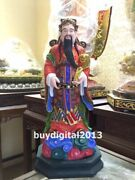 Chinese Handwork Camphorwood Wood God Of Wealth Mammon God Of Fortune Sculpture