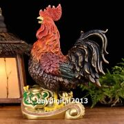 Bronze Chinese Zodiac Wealth Fengshui Animal Ruyi Chicken Cock Rooster Statue