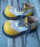 Vintage Clown Costume Checkered Hat Pants Shirt Leather Fat Toe Shoes Circus