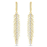 1.28 Ct Round Cut Simulated Solid 14k Yellow Gold Feather Earrings