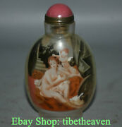 9.5cm Old West Handmade Sided Belle Babe Cupid Inner Painting Glass Snuff Bottle