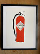 Framed Rare Death Nyc Red Tabasco Fire Extinguisher Print 45cmx32 Coa Not Banksy