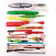 24 Unusual Shaped Novelty Ink Pens And Pencils Lot - Heinz Epcot Gator Disney +