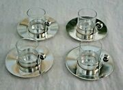 And Co. Sterling Silver 4 Demitasse Cups And Saucers W Inserts Free Ship Usa