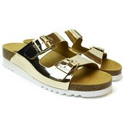 Dr. Scholl Womenand039s Flip Flops With Wedge Heel Glam Ss 2 Gold