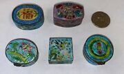 Antique Miniature Chinese 5 Hand Painted Metal Enamel Trinket Boxes Hinged