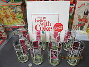 Coca Cola Sports Drinking Glasses 1962 Set Of 8 Mint Boxed Rare New Old Stock