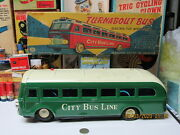 Turnabout Bus City Bus Line Battery Operated In Box 50s Tin Litho 14 Works Nm