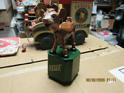 Elsie The Cow Bordenand039s Mespo Push Puppet Collapsible Toy 1950and039s Wood Rubber Exc