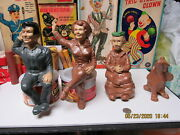 Beverly Hillbillies Playset Figures 1963 Lot Of 4 Ideal With Rare Dog Duke