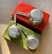 Vintage Bread Baking Pans And Measuring Cups Aluminum Kitchen Set Prop Red Green