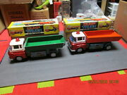 Dump Trucks Set Of 2 Red China Battery Operated Tin Toys In Boxes 12.5 Me679
