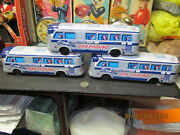 Greyhound Scenicruiser Buses Vintage Tin Litho Lot Of 3 Friction Japan 60s Nos
