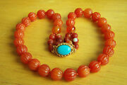 Fabulous Vintage Carved Jade Red Carnelian Agate Turquoise Necklace 20 95.1 G