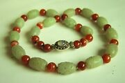 Amazing Chinese Vintage Carved Hetian Jade Carnelian Sterling Necklace 24 A