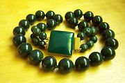 Amazing Chinese Vintage Hetian Inky Dark Green Jade Beads Necklace 24 267 G A