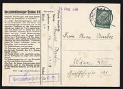 1938 Dachau Concentration Camp Postcard Letter From Jewish Prisoner Germany