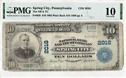 10 1902 Pb National Spring City Pennsylvania Pa Extremely Rare 8 Known Pmg 10