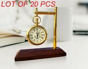 Brass Desk Clock With Wooden Base Table Clock Decorative Antique Collectible