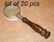 Antique Vintage Brass 6 Wooden Handle Magnifying Glass Nickel Polish Magnifier