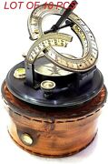 Antique Nautical 3 Brass Black Round Sundial Engrave Compass With Leather Case