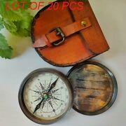 Directional Custom Engraved Marine Pocket Brass Compass With Leather Case Gift
