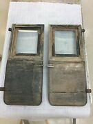 1900and039s 1910and039s Early Brass Vintage Car Pair Of Wooden Doors. Beveled Glass.