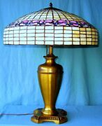 Antique Style Leaded Glass Table Lamp With Early Pittsburgh Brass Base