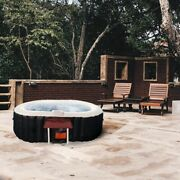 Aleko Oval Inflatable Hot Tub With Drink Tray And Cover 2 Person 145 Gallon