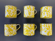 Set Of 6 Vintage 1960's Yellow Swirl Graniteware Mugs With Labels, New Old Stock
