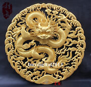 China Basswood Auspicious Dragon Play Bead Wall Hanging Wood Tablet Plaque Board