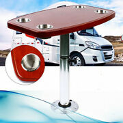 Aluminum Table Pedestal Stand+ 4 Cup Holders Oak Table Top For Rv Boat