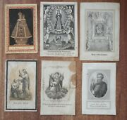 Lot Of 6 Rare Antique Holy Cards 19th Century