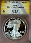 Proof Silver Eagle 1994 Pf 69 Dcam Rare Early Year Perfect Coin From Mint Set
