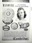 1947 Cambridge Glass Crystal Hanover Divided Dish Plate Covered Dish Bowl Ad