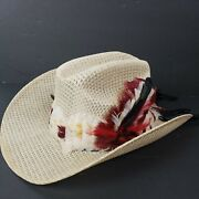 Vintage Summit Hats Houston Cowboy Hat 7 1/4 58 Straw Feathers Tail Feathers