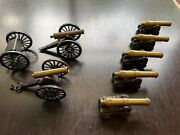 Lot Of Vintage Toy Miniature Replica 19th Century Cannons Cast Iron Brass Mfco