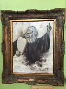 Old Original Religious Canvas Painting Beautifully Wooden Vintage Framed /moses