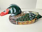 Carved Solid Wood Decor Duck Decoy Glass Eye Bird Collectible Handpainted Animal