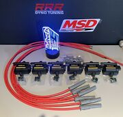 Haltech Smart Coils Ign-1a And Msd 8.5mm Red Plug Wires 6 Cylinder Engine Kit