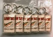 Lot Of 6 New Rainbow Trout Stream Fishin' - Key Chains Old Stock Keyrings Fish