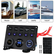 5 Gang On-off Blue Led Toggle Switch Panel Voltmeter Dual Usb For Headlight New